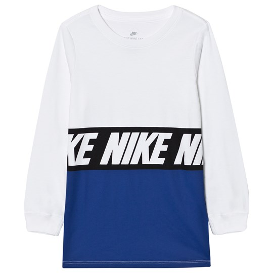 NIKE Boys Blue AV15 Block Long Sleeve Tee WHITE/BLUE JAY