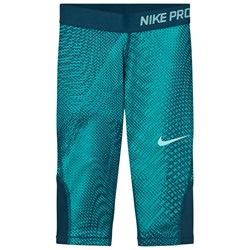 NIKE Girls Green Nike AOP Capri Leggings