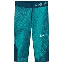 NIKE Green Capri Leggings TURBO GREEN/SPACE BLUE/LIGHT AQUA