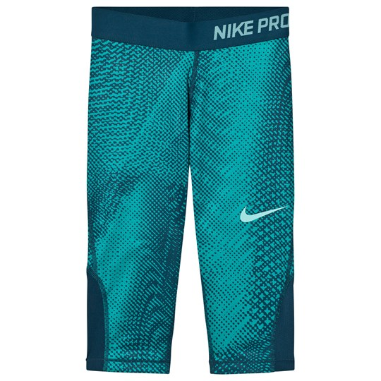 NIKE Girls Green Nike AOP Capri Leggings TURBO GREEN/SPACE BLUE/LIGHT AQUA