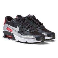 NIKE Black Air Max 90 Mesh Junior Shoe ANTHRACITE/METALLIC SILVER-HOT PUNCH
