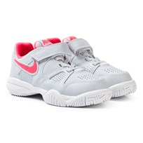 NIKE White City Court 7 Tennis Shoe PURE PLATINUM/HOT PUNCH