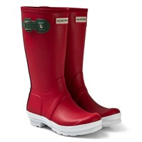 Hunter Military Red Contrast Sole Kids Wellies Red