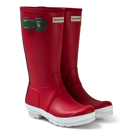 Hunter Military Red Contrast Sole Kids Wellies Rød