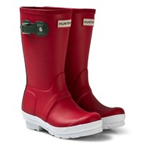 Hunter Military Red conour sole Kids Wellies Red