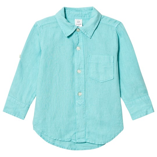 GAP Linen Blend Convertible Shirt Fair Aqua Fair Aqua 107