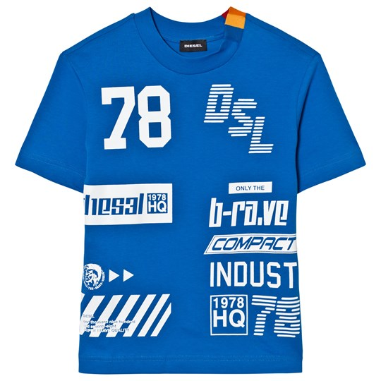 Diesel Blue All Over Logo Knit T Shirt K80C