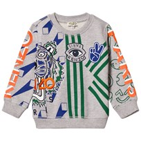 Kenzo Grey Marl Multi Icons Print and Embroidered Sweatshirt 22