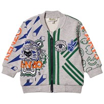 Kenzo Grey Marl All Over Icons Print Bomber Jacket 22