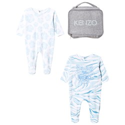 Kenzo 2 Pack Footed Baby Body Tiger Blue