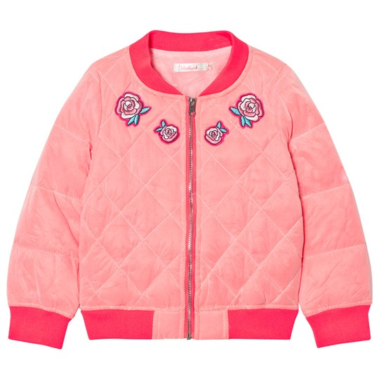 Billieblush Hot Pink Embroidred Rose Quilted Bomber Jacket 49H