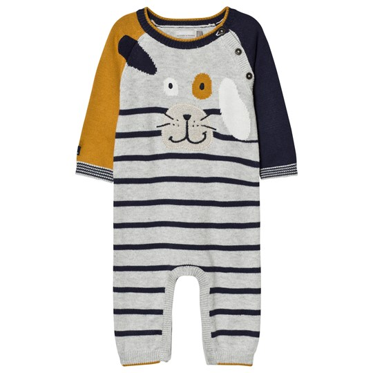 Catimini Grey and Mustard Strip Dog Applique Knit One-Piece 15