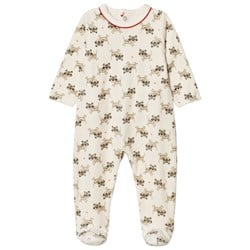 Catimini Cream Tiger Print Velour Footed Baby Body