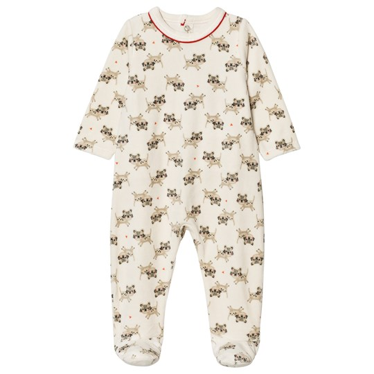 Catimini Cream Tiger Print Velour Footed Baby Body 12