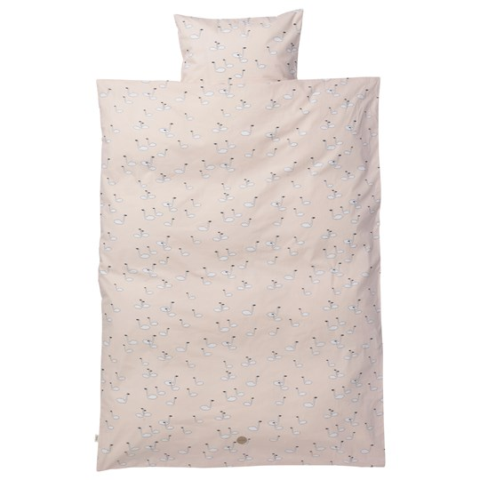 ferm LIVING 100x140 Swan Bedding Rose - Junior Set Black