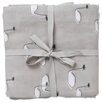 ferm LIVING Muslin Diapers - Swan Grey Set of 3 Black