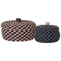 ferm LIVING Braided Baskets Set of 2 Black/Rose/Blue