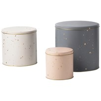 ferm LIVING Set med 3 Confetti Burkar Grey/Rose/Off-White