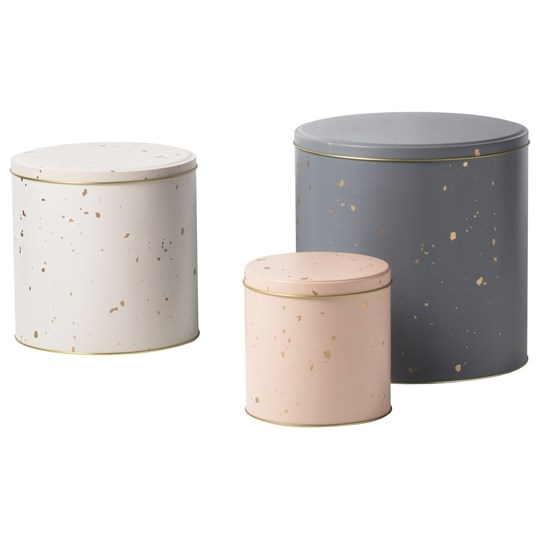ferm LIVING Confetti Tin Boxes Set of 3 Grey/Rose/Off-White