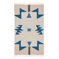 ferm LIVING Kelim Rug Blue Triangles Small Blue