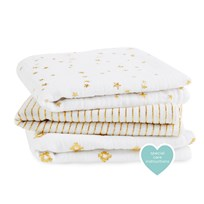 Aden + Anais White and Gold  3 Pack Metallic Musy Metallic/Gold