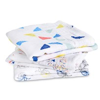 Aden + Anais White and Multi Colour Graphic 3 Pack Musy White/Light Grey