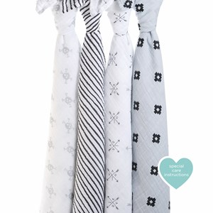 Image of Aden + Anais Gray and White Lovestruck Swaddles (4 Pack) (3038342785)