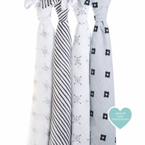 Aden + Anais Gray and White Lovestruck Swaddles (4 Pack) Grey/White