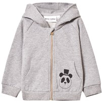 Mini Rodini Basic Zip Huvtröja Grå Melange Grey