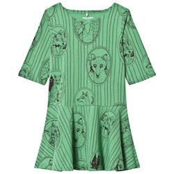 Mini Rodini Fox Family Dress Green