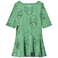 Mini Rodini Fox Family Dress Green Green