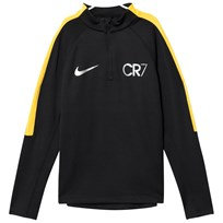 NIKE CR7 Squad Drill Long Sleeve Top BLACK/LASER ORANGE/METALLIC SILVER