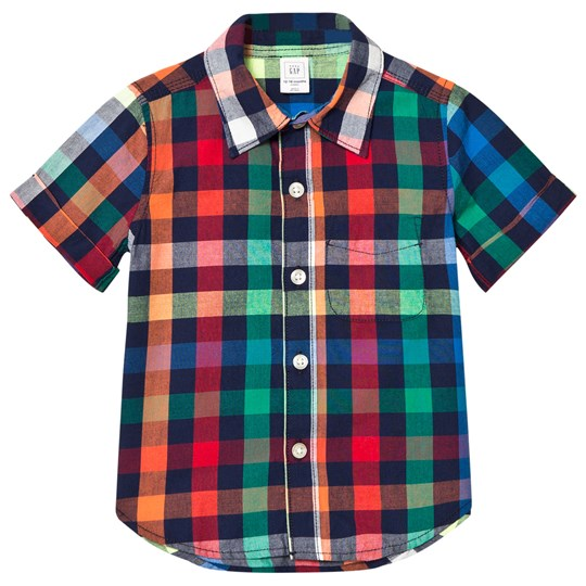 GAP Multi Check Short Sleeve Shirt Pacific Mist Pacific Mist