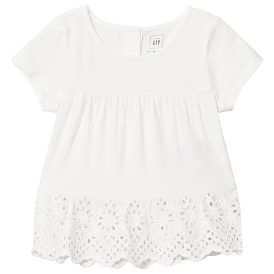 GAP Eyelet Peplum Shirred Top New Off White NEW OFF WHITE