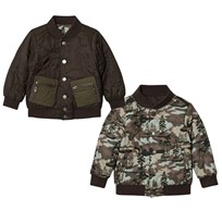 Stella McCartney Kids Green Camo Bud Bomber Jacket 2086