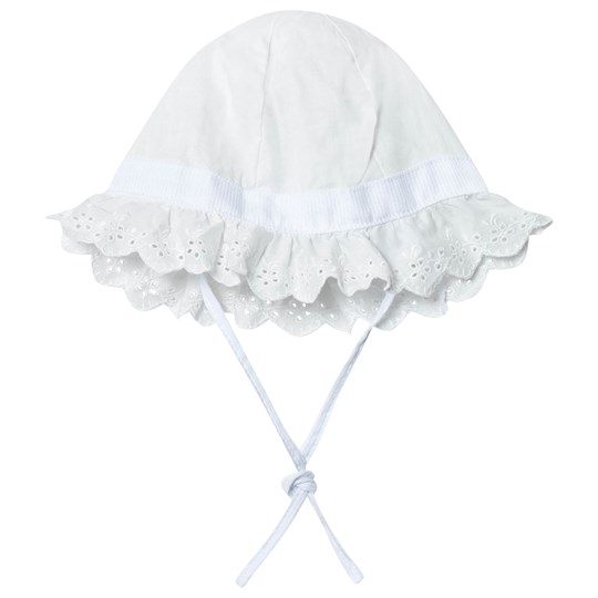 United Colors of Benetton Frilly Sun Hat with Bow Detail White