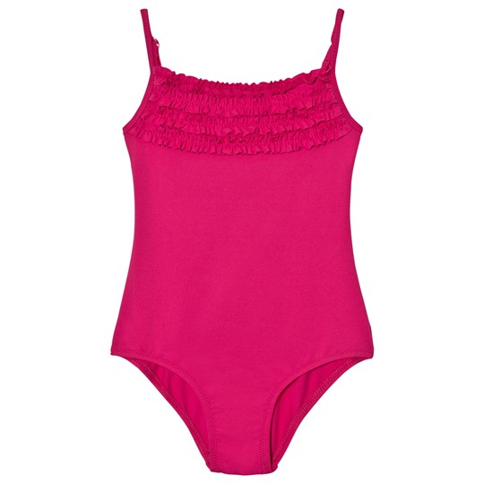 United Colors of Benetton Swimsuit With Frill Neck Line Fuschia Pink Fuschia Pink