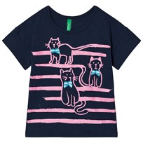 United Colors of Benetton Cat Print Tee Navy Navy