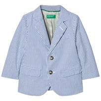 United Colors of Benetton Stripe Suit Jacket Blue/White Blue White