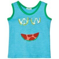 United Colors of Benetton Watermelon Print Tank Top Bright Blue Bright Blue
