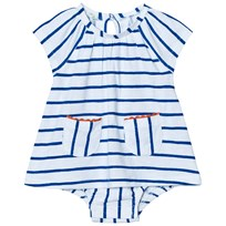 United Colors of Benetton Stripe A-Line Dress White/Blue WHITE BLUE
