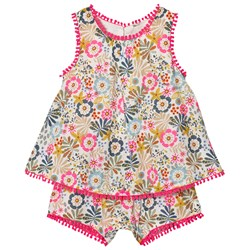 United Colors of Benetton Floral Print Romper with Embroidered Details