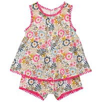 United Colors of Benetton Floral Print Romper with Embroidered Details White Multi