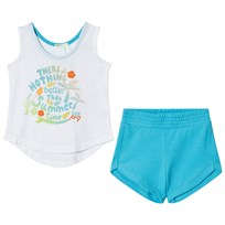 United Colors of Benetton Summer Time Tank Top and Shorts Set White/Blue WHITE BLUE