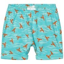 United Colors of Benetton Lobster Print Jersey Shorts With Turn Up Hem Aqua Blue Aqua Blue