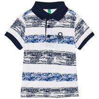 United Colors of Benetton Stripe Logo Polo Tee White White