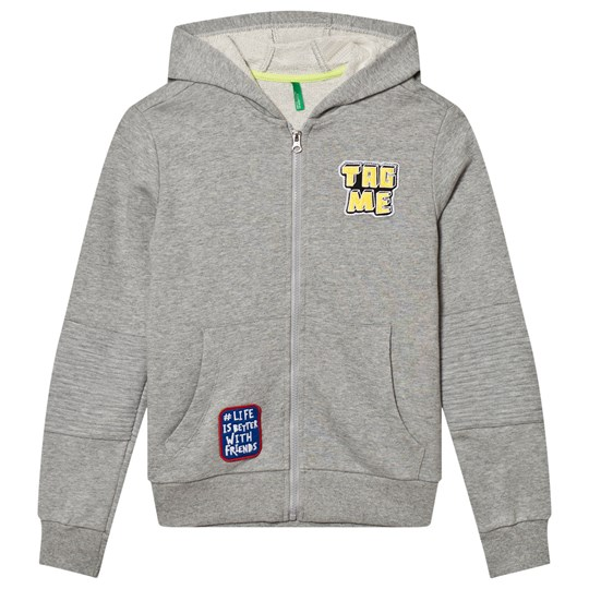 United Colors of Benetton Zip Hoodie Patches Light Grey Light Grey