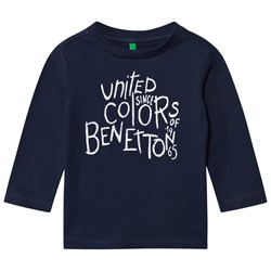 United Colors of Benetton Long Sleeve Logo Tee Navy