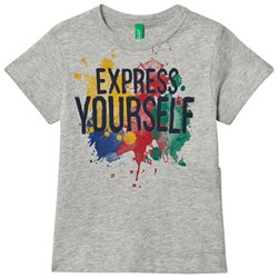 United Colors of Benetton Express Yourself Print Tee Grey