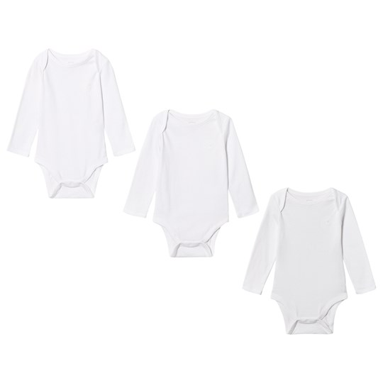 GAP Favorite Solid Long Sleeve Baby Body (3 Pack) White OPTIC WHITE